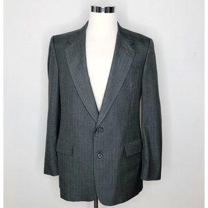 Vintage Mens Dior Gray Striped Suit Sport Coat 42